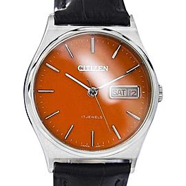 Citizen Day Date Manual Wind Orange Dial Stainless Steel Mens Watch 1980