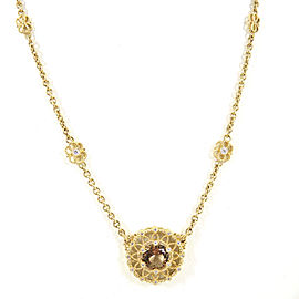 Judith Ripka 18K Yellow Gold .14tcw Cognac Quartz & Diamond Pendant Necklace