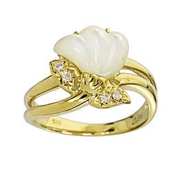 Tasaki Shell 18K Yellow Gold & 0.04ct Diamond Ring Size 6