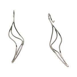 Tiffany & Co. Elsa Peretti 18K White Gold Large Wave Drop Dangle Earrings