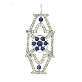 Platinum Diamond & Sapphire Brooch Pin