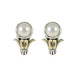 Lagos Sterling Silver 18K Yellow Gold Mabe Pearl Arcadian Earrings