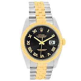 Rolex Datejust 116233 Steel 18K Yellow Gold Black Dial Mens 36mm Watch