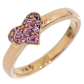 Ponte Vecchio 18K Rose Gold with 0.23ct Pink Sapphire Heart Band Ring Size 5