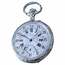 925 Sterling Silver White Dial Manual 61mm Unisex Pocket Watch c1910
