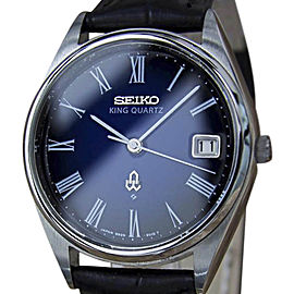 Seiko King Quartz Precision Stainless Steel Vintage 35mm Mens Watch Year 1980
