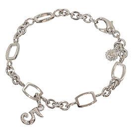 Franck Muller 18K White Gold Talisman Number Charm Chain Link Bracelet