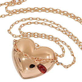 Boucheron Coeur 18K Rose Gold and Garnet Heart Motif Pendant Necklace