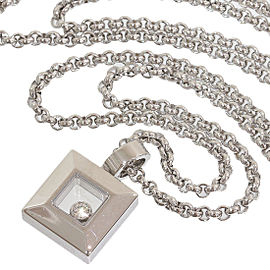 Chopard 18K White Gold Happy Diamond Square Pendant Necklace