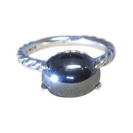 David Yurman Stack Sterling Silver Hematine Cable Ring Size 7.0