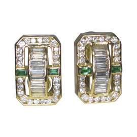 Charles Krypell 18K Yellow Gold with 2.65ct Emerald & .20ct Diamond Earrings