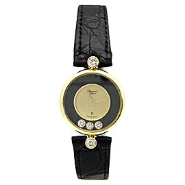 Chopard Happy Diamonds 18K Yellow Gold & Leather wDiamonds Quartz 21 mm Womens Watch