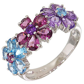 Ponte Vecchio 18K White Gold with Multi Color Stone Flower Ring Size 6