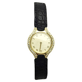 Ebel 18K Yellow Gold with Custom Diamonds & Black Leather Band 24.5mm Womens Watch