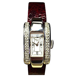 Chopard 18K White Gold with Custom Diamond Bezel & Leather Band 18mm Womens Watch