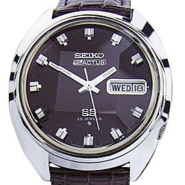 Seiko Actus Stainless Steel & Leather Automatic Vintage 36mm Mens Watch 1970s