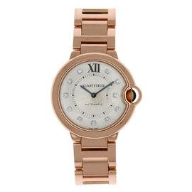 Cartier Ballon Bleu WE902026 18K Rose Gold Silver Diamond Dial 36mm Womens Watch