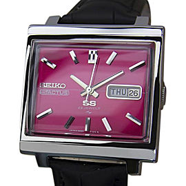 Seiko 5 Actus Stainless Steel & Leather Automatic 34mm Mens Watch 1970s