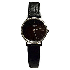 Chopard Stainless Steel w/ Diamond Bezel & Black Leather Band 24.20mm Womens Watch
