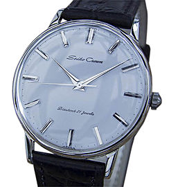 Seiko Crown Stainless Steel & Leather Manual 36mm Mens Watch 1960