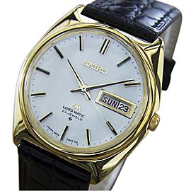 Seiko Lord Matic Day Date Gold Plated Stainless Steel & Leather Automatic 36mm Mens Watch 1970s