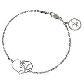 Carrera y Carrera 18K White Gold Letter Y Motif Heart Motif Chain Bracelet