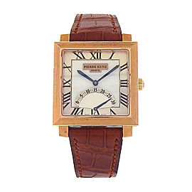 Pierre Kunz Spirit of Challenge E Q01 SR 18K Rose Gold Brown Leather Quartz Silver 30mm Mens Watch