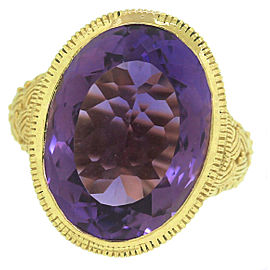 Judith Ripka 18K Yellow Gold Purple Amethyst Cocktail Ring Size 6.00