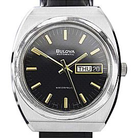 Bulova Stainless Steel Black Dial Automatic 36mm Mens Watch 1970s