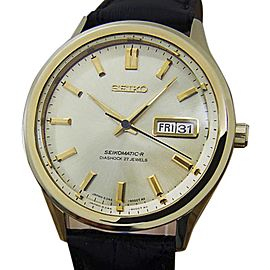 Seiko Seikomatic R Gold Plated Stainless Steel & Leather Automatic Vintage 37mm Men's Watch c1970s