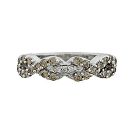 LeVian 14K White Gold 0.38ct. Diamond Infinity Band Ring Size 5.00