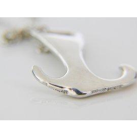 "Tiffany & Co. Peretti 925 Sterling Silver Anchor Pendant Necklace 17"""