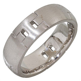 """Hermes """"H"""" Logo Hercules 18K White Gold Ring Size 7.75"""