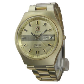 Omega Electronic F300Hz Gold Plated Stainless Steel 40mm Mens Watch 1970s