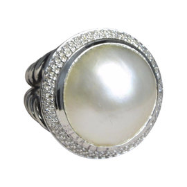 David Yurman Cerise 925 Sterling Silver with Mabe Pearl and Diamond Cable Ring Size 7