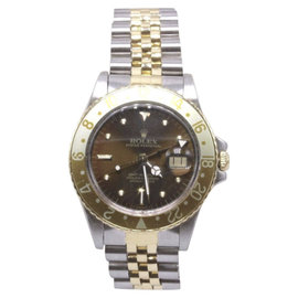 Rolex GMT Master 16753 18K Yellow Gold & Stainless Steel Root Beer Bezel Automatic 40mm Mens Watch