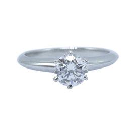 Tiffany & Co. 950 Platinum & 0.70ct Round Diamond Engagement Ring Size 4.25