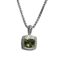 David Yurman Petite Albion Sterling Silver Peridot Diamond Necklace