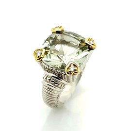 Judith Ripka Two-Tone Sterling Silver & 18K Yellow Gold Prasiolite and Diamond Fontaine Ring