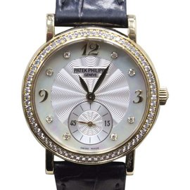 Patek Philippe Calatrava 4959J 18K Yellow Gold & Mother of Pearl Diamond Dial 31mm Womens Watch