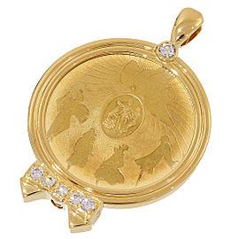 Nina Ricci 18K Yellow Gold with Diamond Ribbon Coin Pendant