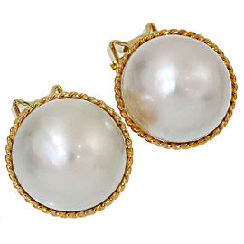 Mikimoto 18K and 14K Yellow Gold with Pearl Clip Earrings