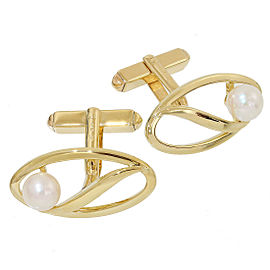 Mikimoto 14K Yellow Gold with Pearl Cufflinks