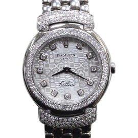 Rolex Cellini Cellissma 6673 18K White Gold Diamond Quartz 26mm Womens Watch 2006