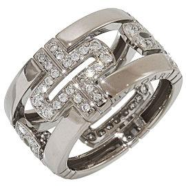 Bulgari 18K White Gold with Diamond Parentesi Ring Size 6