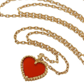 Van Cleef & Arpels 18K Pink Gold Carnelian Sweet Alhambra Heart Necklace