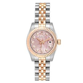 Rolex Datejust EveRose Gold Steel Diamond Ladies Watch 179171 Box Card