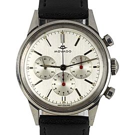 Movado Sub-Sea Chronograph 19068 Stainless Steel with Silver Dial Vintage 35mm Mens Watch