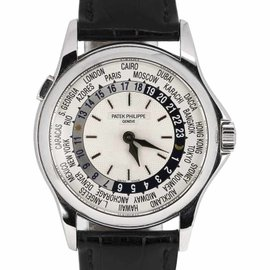 Patek Philippe Complications World Time 5110G 18K White Gold / Leather 37mm Mens Watch
