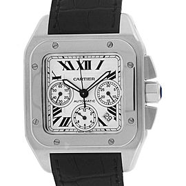Cartier Santos W20090X8 Stainless Steel / Leather with Ivory Dial 41mm Mens Watch